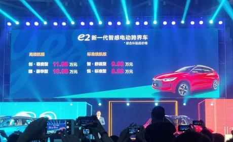 比亚迪e2正式上市 补贴后售价8.98万-11.98万元