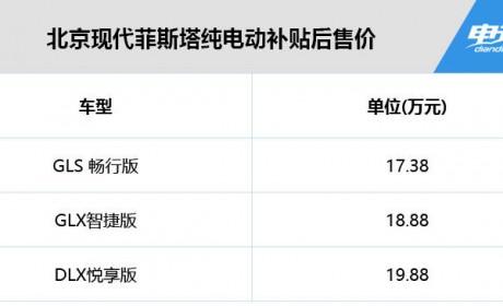 续航490km/补贴后售17.38万起 北京现代菲斯塔纯电正式上市