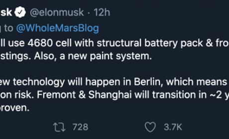 马斯克发推:4680新电池将率先在柏林超级工厂使用