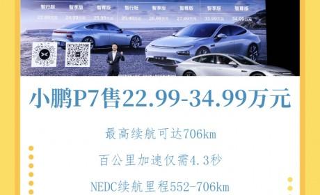 最高706km续航的小鹏P7正式上市 补贴后售价22.99万-34.99万元