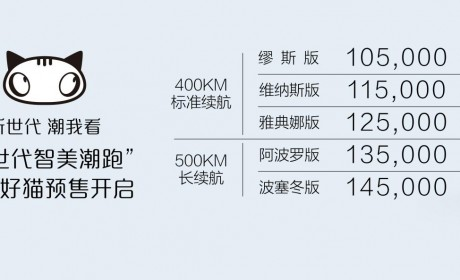 欧拉好猫开启预订 预售价10.5万-14.5万元