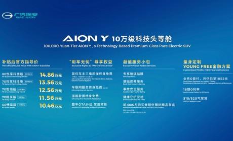 广汽埃安AION Y正式上市 补贴后售价10.46万-14.86万元