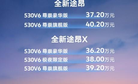 上汽大众全新途昂家族530V6上市 36.2万元起售